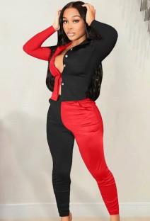 Conjunto de camisa de manga larga con contraste rojo y negro informal de otoño y pantalón a juego