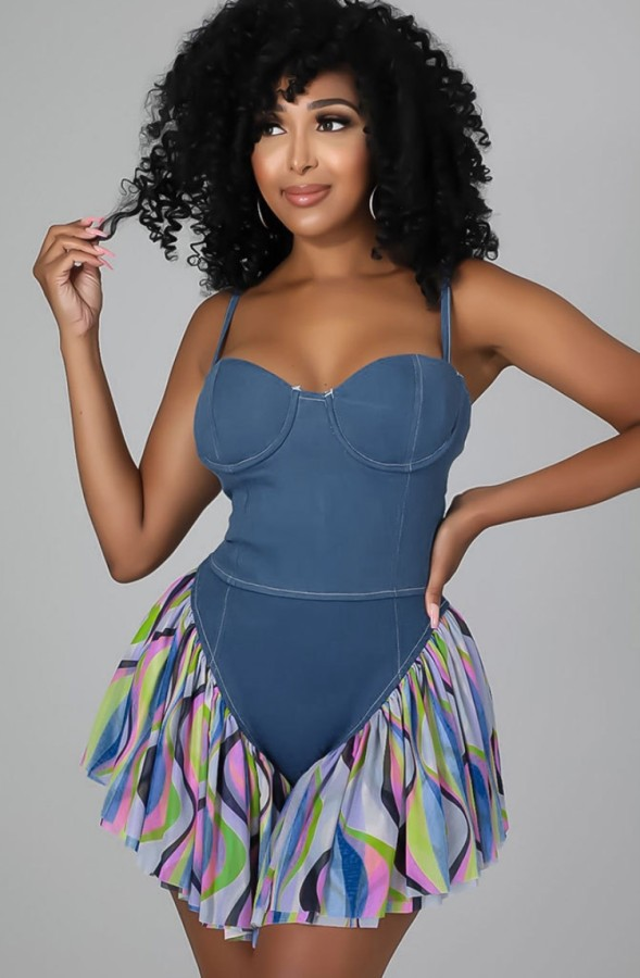 Summer Sexy Blue Patchwork Strap Denim Playsuit