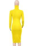 Sonbahar Zarif Sarı Yüksek Boyun Uzun Kol Midi Elbise