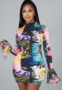 Autumn Colorful Sexy Blackless Bodycon Dress with Flare Sleeve