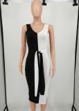 Yaz Zarif Siyah Beyaz Kontrast Off Omuz Bölünmüş Örme Midi Elbise