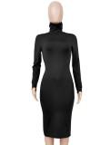 Autumn Elegant Black High Neck Long Sleeve Midi Dress