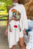 Summer Print Halter Neck Irregular One Shoulder Casual Dress