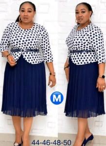 Conjunto de vestido midi azul y top con estampado de madre de la novia de talla grande de otoño