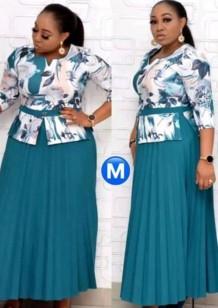 Conjunto de vestido midi y top con estampado de madre de la novia de talla grande de verano