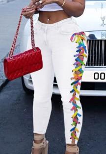 Jean skinny blanc à lacets sur les côtés de couleur arc-en-ciel d'automne