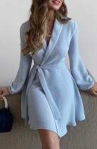 Herbst Elegant Blau Taillierter Kragen mit Blet Midikleid