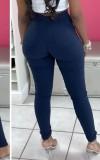 Pantaloni lunghi skinny a vita alta blu scuro autunno