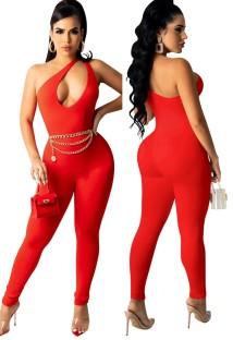 Sexy roter, ärmelloser, taillierter Jumpsuit mit Ausschnitt und einer Schulter