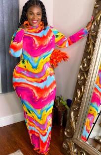 Vestido largo de manga larga con efecto tie dye casual de talla grande de otoño