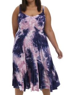 Vestido casual de verano con efecto tie dye y talla grande