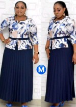 Summer Plus Size Mother of Bride Print Top and  Midi Dress Set