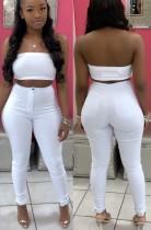 Pantaloni lunghi skinny a vita alta bianco puro autunno