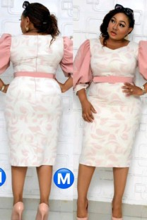 Summer Plus Size Mother of Bride Print With Pink Half sleeve Midi Dress