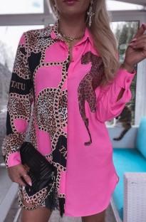 Осенняя розовая блузка с длинным рукавом с принтом