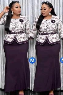 Conjunto de vestido largo y top con estampado de madre de la novia de talla grande de otoño