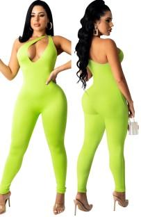 Mono sin mangas ajustado sin mangas con recorte verde sexy de One Shouler