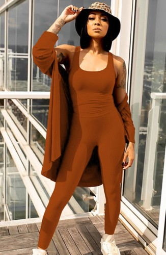 Herfst Casual Bruin vest en broek met jas 3-delige set