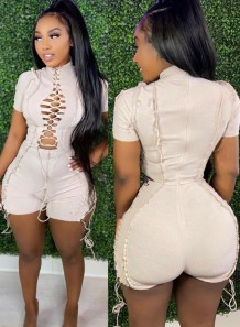 Summer Causal White Cut out cord line with zipper Rompers