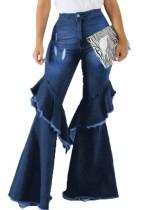Autumn Causal Blue Ruffles Knne Schlaghosen-Jeans