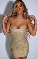 Sommer Sexy Bling Bling Champagner Trägerloses Mini Club Kleid