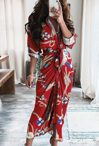 Vestido longo formal com franzido vermelho estampado de outono