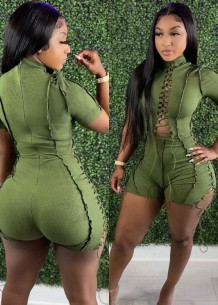 Summer Causal Green Cut out cord line with zipper Rompers