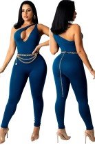 Sexy blauer ärmelloser, taillierter Jumpsuit mit Ausschnitt und einer Schulter