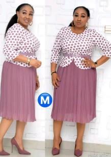 Conjunto de vestido midi rosa y top con estampado de madre de la novia de talla grande de otoño