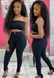 Pantaloni lunghi skinny a vita alta neri puri autunnali