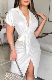 Осенняя вечеринка Сексуальное белое атласное облегающее платье с открытыми пуговицами и воротником