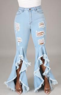 Летние расклешенные джинсы LT-Blue с рваным низом и оборками