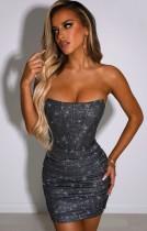 Sommer Sexy Bling Bling Schwarzes trägerloses Mini-Clubkleid
