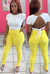Осенние чистые желтые узкие длинные брюки с высокой талией