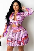 Conjunto de blusa de manga larga retro con estampado de otoño y falda plisada