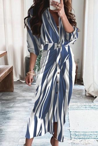 Vestido longo formal com franzido de listras brancas e azuis de outono