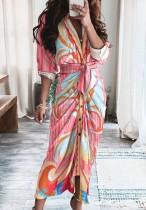 秋のプリントピンクフォーマルシャーリングロングドレス