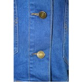 Giacca di jeans strappati blu sexy autunnali