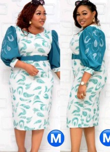 Summer Plus Size Mother of Bride Print With Teal Half sleeve Midi Dress