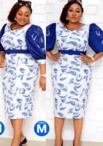 Sommer Plus Size Brautmutter-Print mit blauem Midi-Kleid mit halben Ärmeln