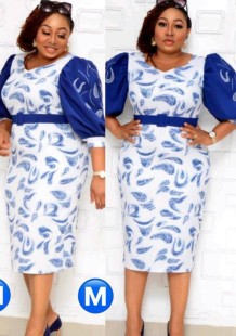 Summer Plus Size Mother of Bride Print With Blue Half sleeve Midi Dress