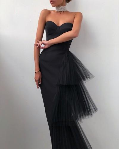 Vestido de noite elegante de verão elegante puro preto sem alças com cauda de malha