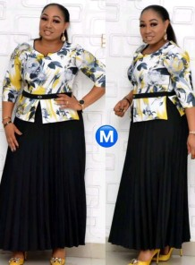 Summer Plus Size Mother of Bride Print With Beige Half sleeve Midi Dress