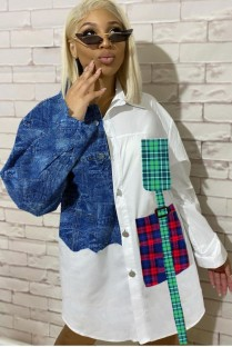 Autumn Casaul Jeans and checks Patched Long Sleeve Shirt