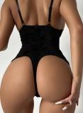 Lingerie Teddy con cinturino in pizzo nero sexy estivo