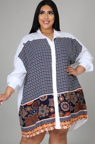 Robe chemise ample à manches longues imprimée bohème grande taille automne