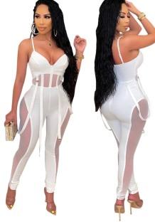Sommer Sexy Weißer Durchsichtiger Overall mit Gürtelträgern