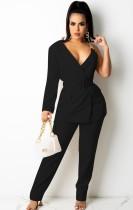 Sonbahar Casaul Siyah Zincir Askılı Uzun Kol Blazer ve Pantolon Takım