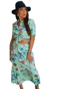 Summer Caual Ensemble chemise verte à manches courtes et jupe assortie à imprimé étoiles de mer