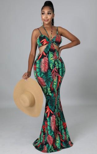 Zomer sexy bloemen groene uitgeholde halter riem zeemeermin lange jurk
